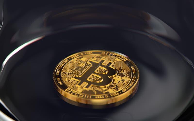 Bitcoin de oro que pone solamente en la parte inferior de un tarro Concepto de la inversión aventurada representación 3d ilustración del vector