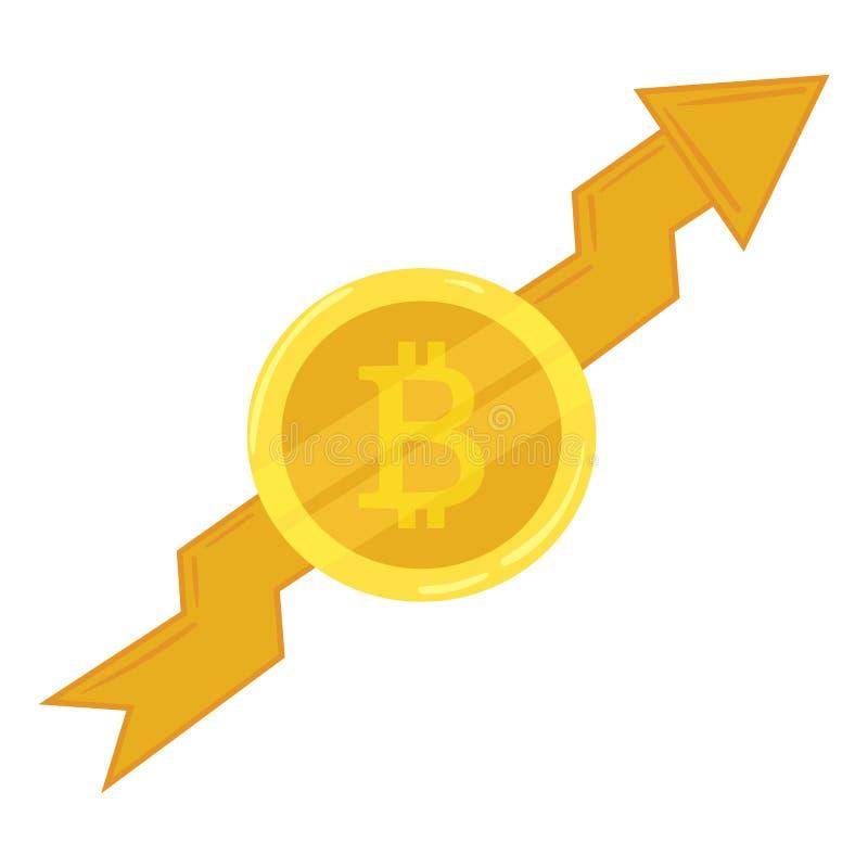 Bitcoin de pièce d'or Cours montant Crypto devise Bitcoin graphique de croissance Exploitation de devise électronique Graphisme d illustration de vecteur