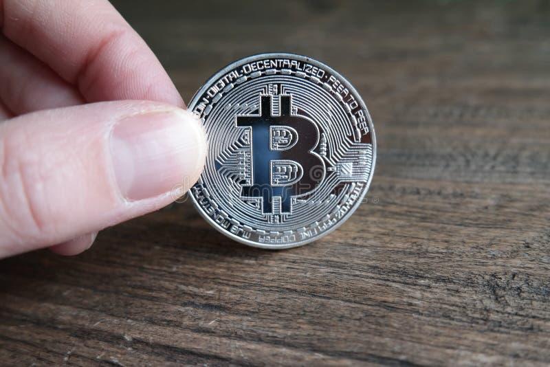 Bitcoin de prata fotos de stock royalty free