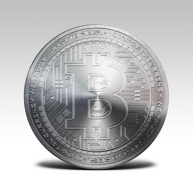 Bitcoin de prata isolado na ilustração branca do fundo 3d ilustração stock