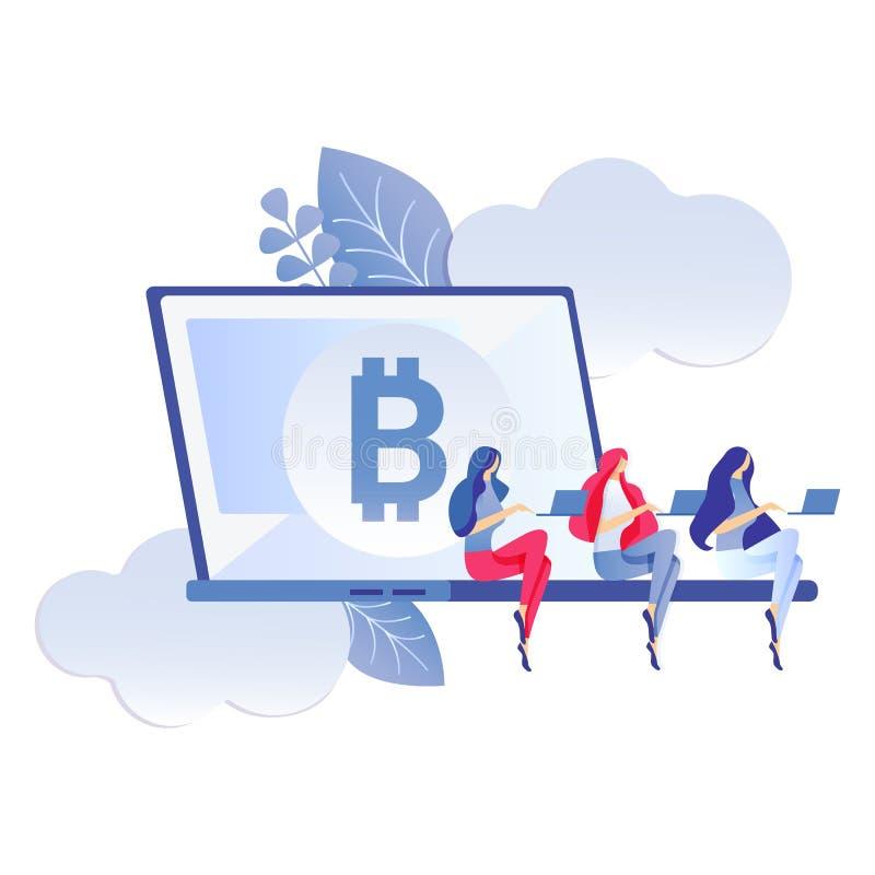 Bitcoin, de Virtuele Illustratie van de Geld Vlakke Kleur stock illustratie