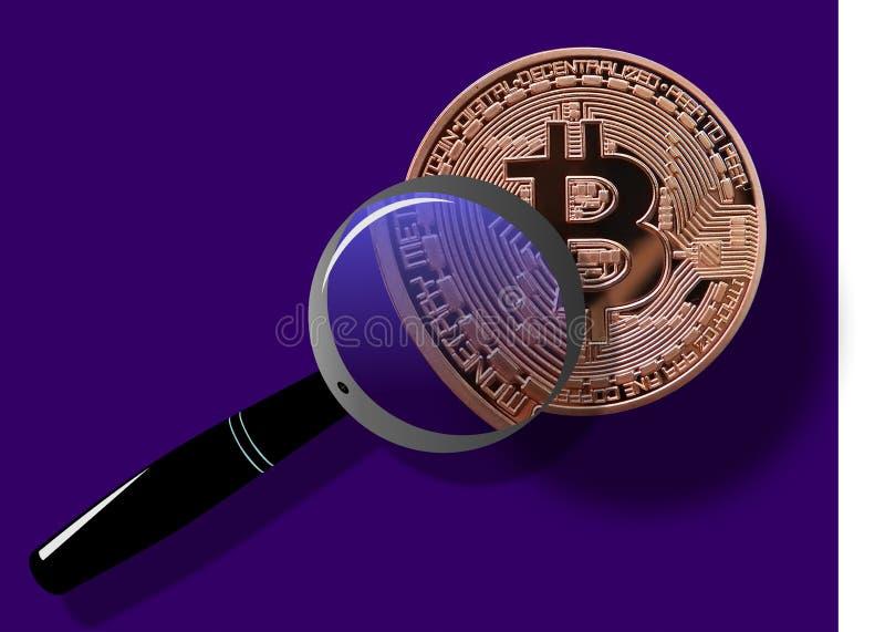 Bitcoin debajo de la lupa ilustración del vector