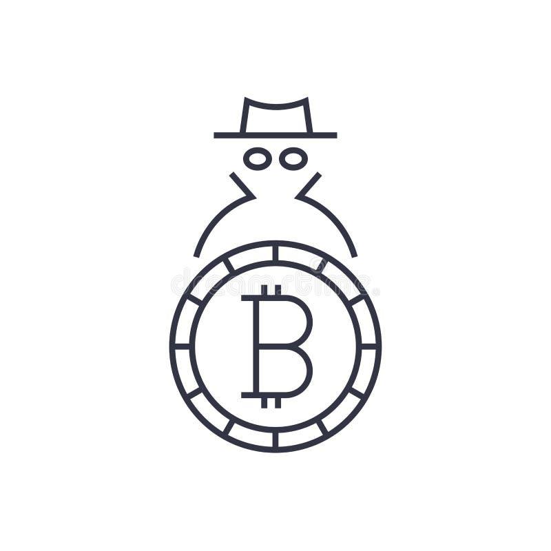 Bitcoin del logotipo Concepto de anonimato y de seguridad Movimiento Editable libre illustration