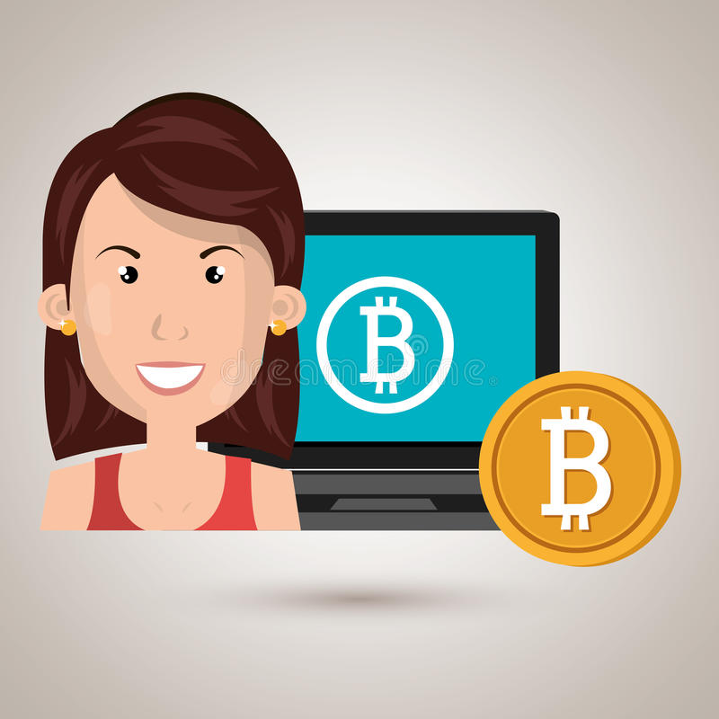 bitcoin del ordenador portátil de la mujer en línea stock de ilustración