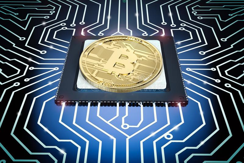 Bitcoin dell'oro sul circuito fotografie stock