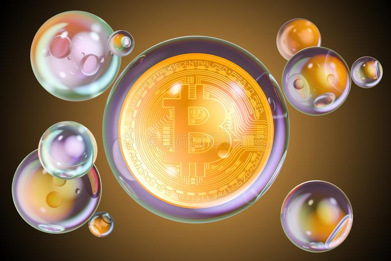 Bitcoin dentro de burbujas de jabón El concepto financiero de la burbuja, 3D rinde stock de ilustración