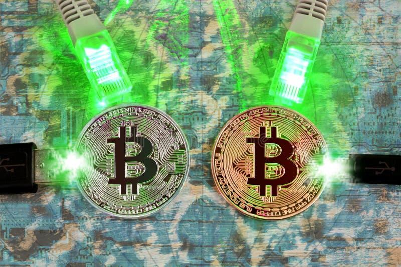 Bitcoin der Schlüsselwährung Virtuelles elektronisches Geld stockfotos
