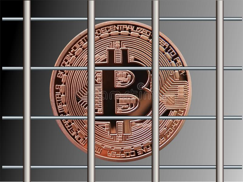 Bitcoin derrière des barres illustration stock