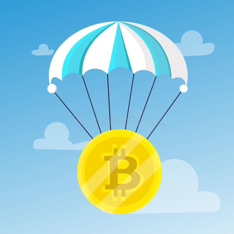 Bitcoin descends with a blue-white. Striped parachute on the background of the sky with clouds. Blocchein, cryptography, technology, business. Modern vector royalty free illustration