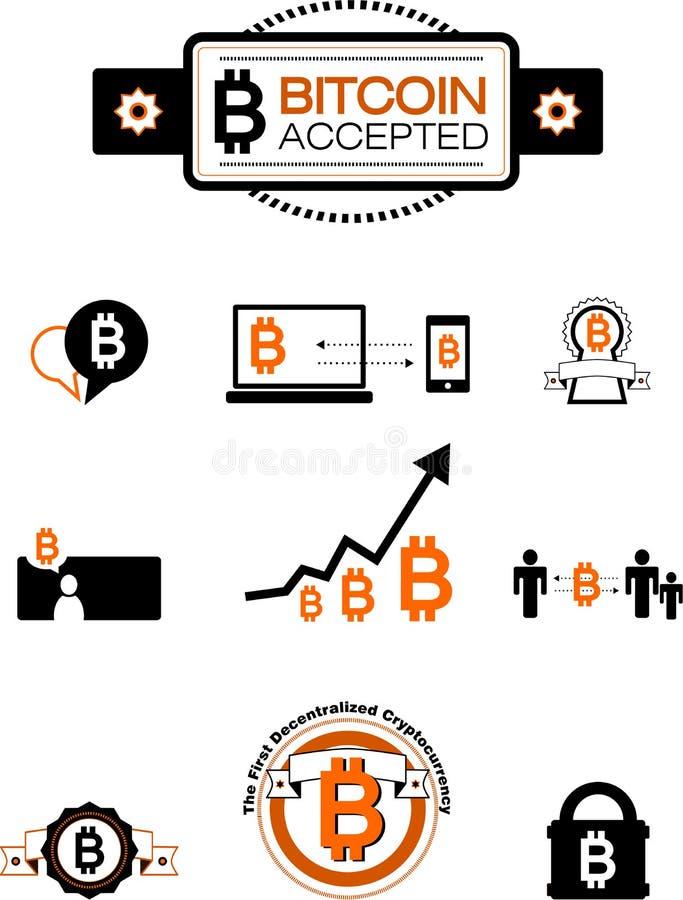 Bitcoin designbeståndsdelar vektor illustrationer