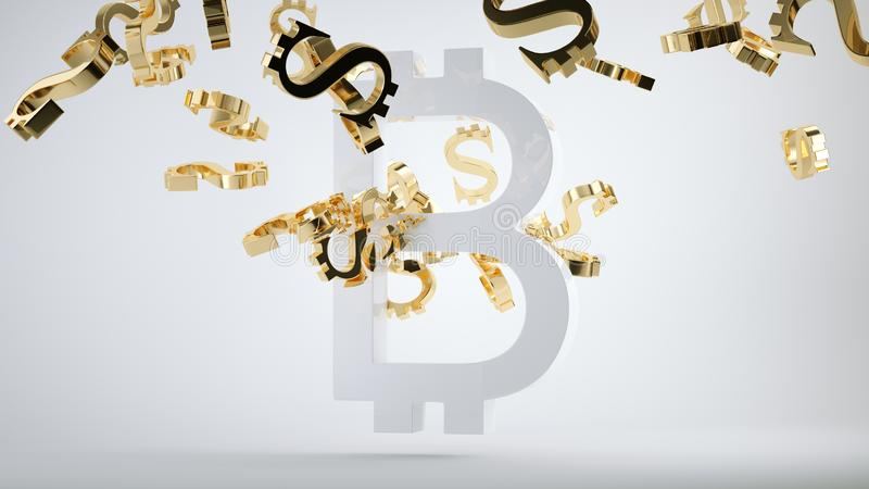 Bitcoin devaluation symbol and shattered golden dollar. Currency symbols. 3d render, 3d illustration royalty free stock image