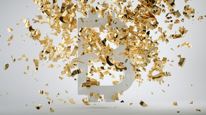 Bitcoin devaluation symbol and shattered golden dollar. Currency symbols. 3d render, 3d illustration royalty free stock photography