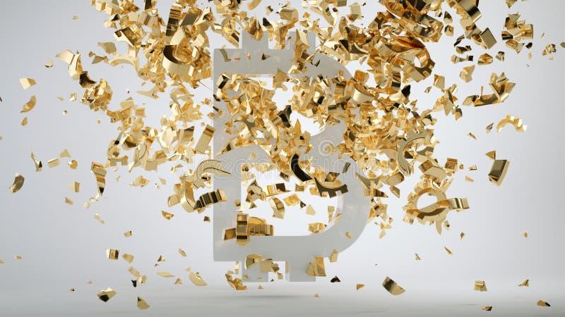 Bitcoin dewaluacji symbol i rozbijający złoty dolar fotografia royalty free