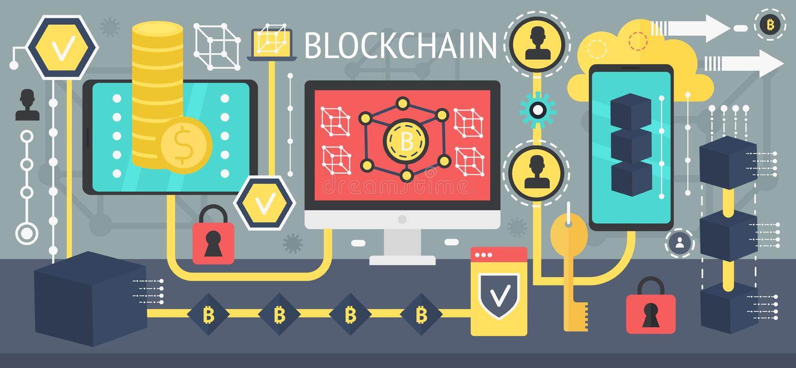 Bitcoin di Cryptocurrency e concetto di tecnologia di rete del blockchain Dispositivi differenti collegati in una rete Vettore royalty illustrazione gratis