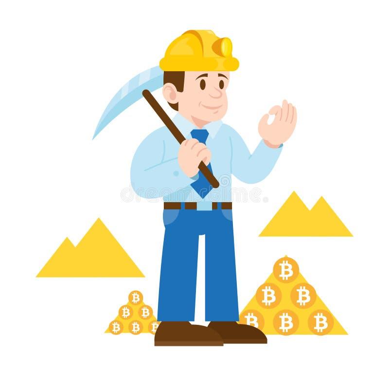 Bitcoin di valuta di cripto del minatore illustrazione vettoriale