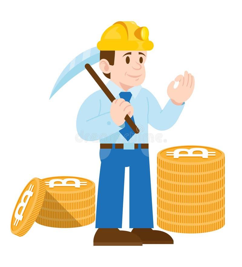 Bitcoin di valuta di cripto del minatore illustrazione di stock