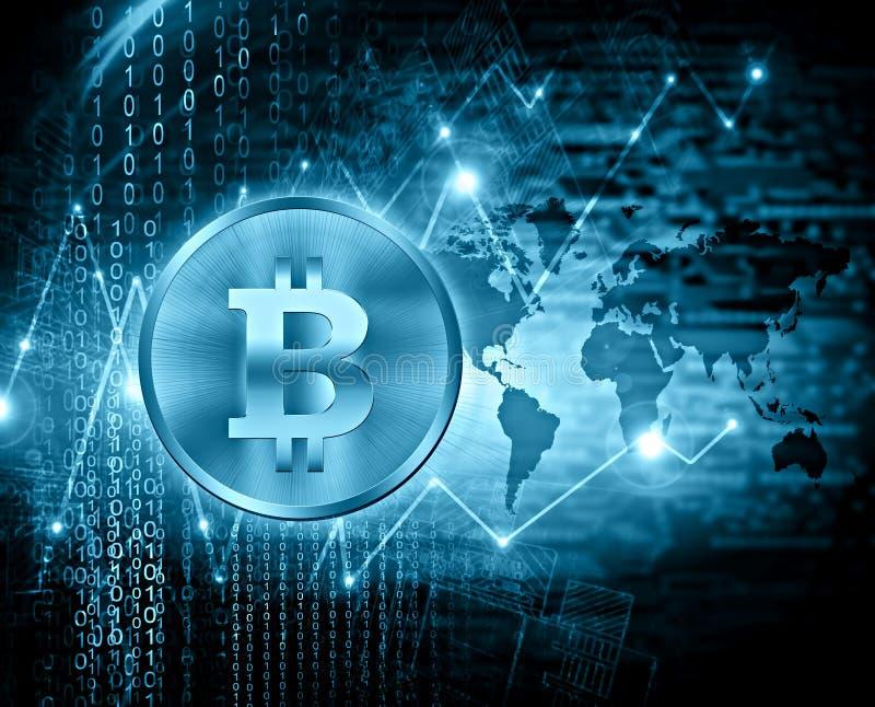 Bitcoin di valuta di Digital, soldi digitali futuristici, concetto di Internet dell'affare globale priorità bassa tecnologica illustrazione vettoriale
