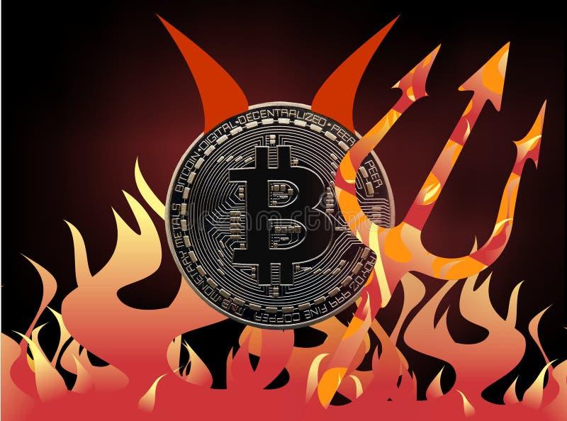 Bitcoin diabeł royalty ilustracja