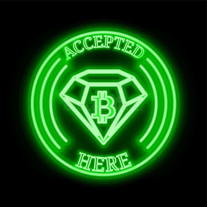Bitcoin diamantBCD som här accepteras, undertecknar arkivbilder
