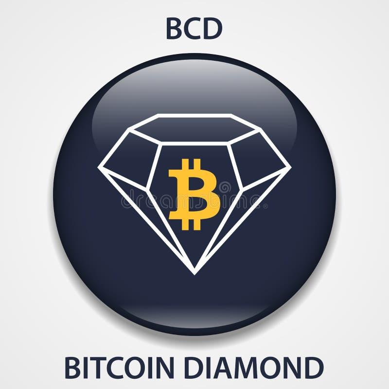 Bitcoin Diamond Coin cryptocurrency blockchain icon. Virtual electronic, internet money or cryptocoin symbol, logo.  royalty free illustration