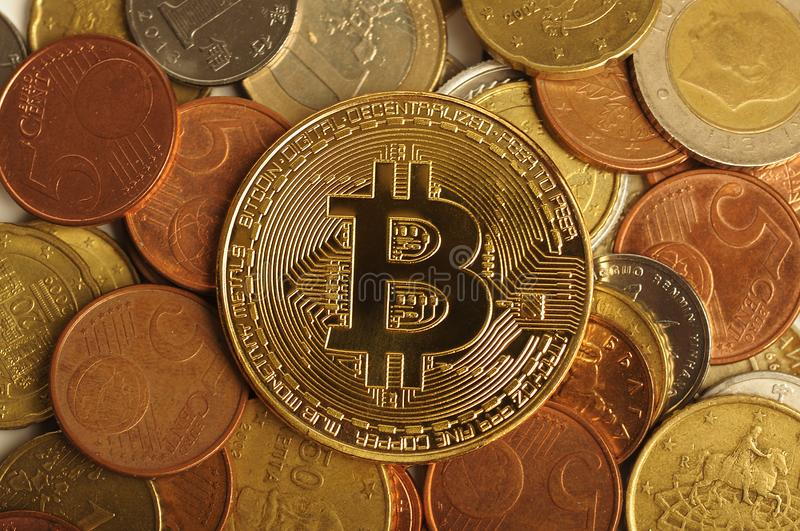 Bitcoin with different coins, background. royalty free stock photo