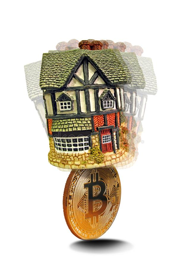 Bitcoin digital cryptocurrency house property royalty free stock photography