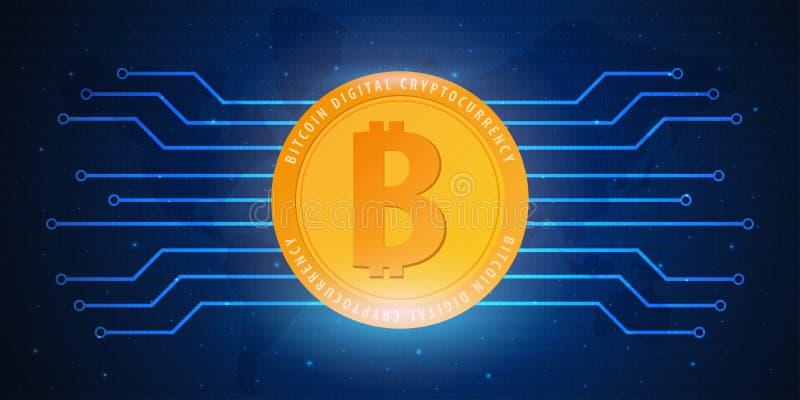 Bitcoin. Digital Cryptocurrency Mining Farm. Technology banner. stock illustration