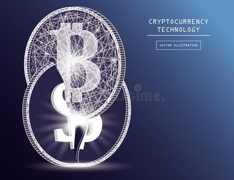 Bitcoin digital currency coin damage world finance system based on dollar concept vector illustration vector illustration