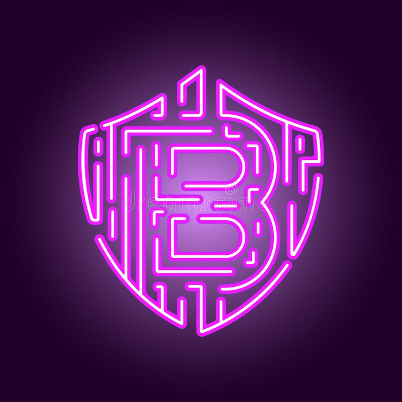 Bitcoin digital currency crypto currency. The concept of security of the crypto currency. Neon style logo stock illustration