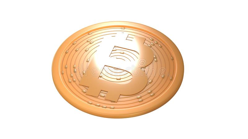 Bitcoin. Digital currency. Cryptocurrency. Golden coin with bitcoin symbol isolated on white background. 3d illustration. Bitcoin. Digital currency vector illustration