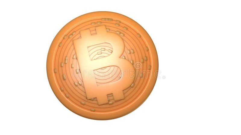 Bitcoin. Digital currency. Cryptocurrency. Golden coin with bitcoin symbol isolated on white background. 3d illustration. Bitcoin. Digital currency royalty free illustration