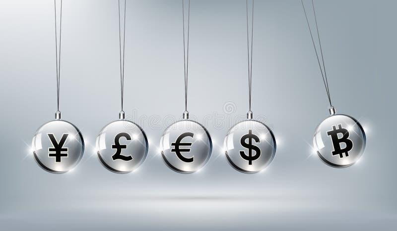 Bitcoin digital currency, dollar, euro, pound sterling, yen stock illustration