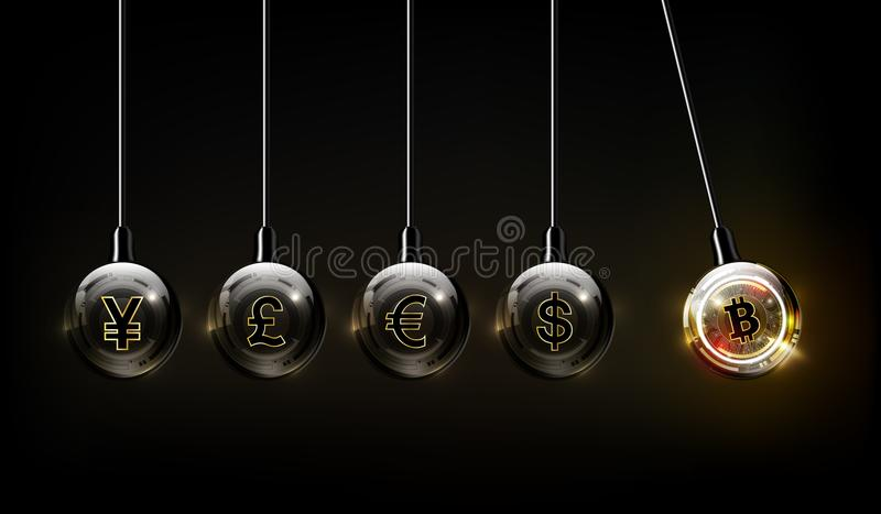 Bitcoin digital currency, dollar, euro, pound sterling, yen and yuan in form of Newton cradle, fintech world finance concept vector illustration