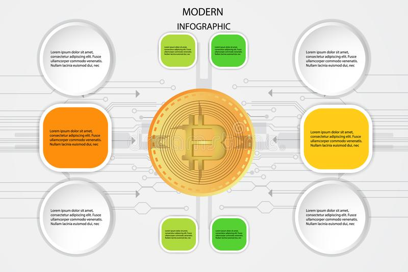 Bitcoin Digital currency Golden coin and business info arrow graphic design flow charts marketing icons used for workflow layout w. Eb template concept diagram stock illustration