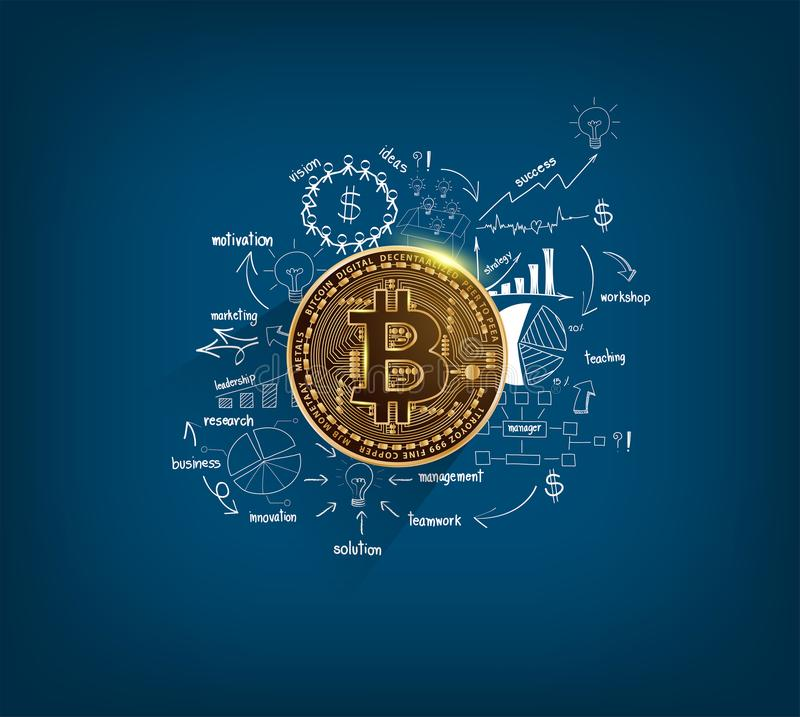 Bitcoin digital currency golden coin on drawing charts and graphs royalty free illustration