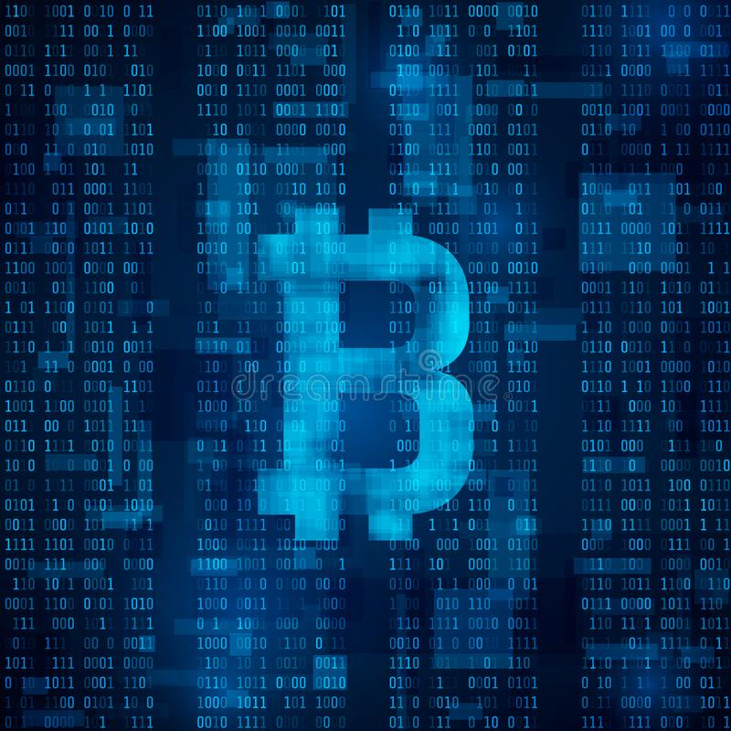 Bitcoin digital currency. Symbol of bitcoin on blue binary code. abstract background vector royalty free illustration