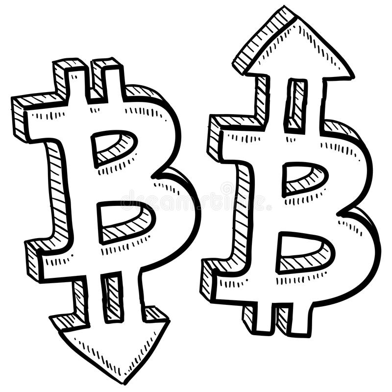 Bitcoin digital currency value sketch. Doodle style Bitcoin digital currency symbol with arrows up and down to indicate inflation, deflation, evaluation, or vector illustration