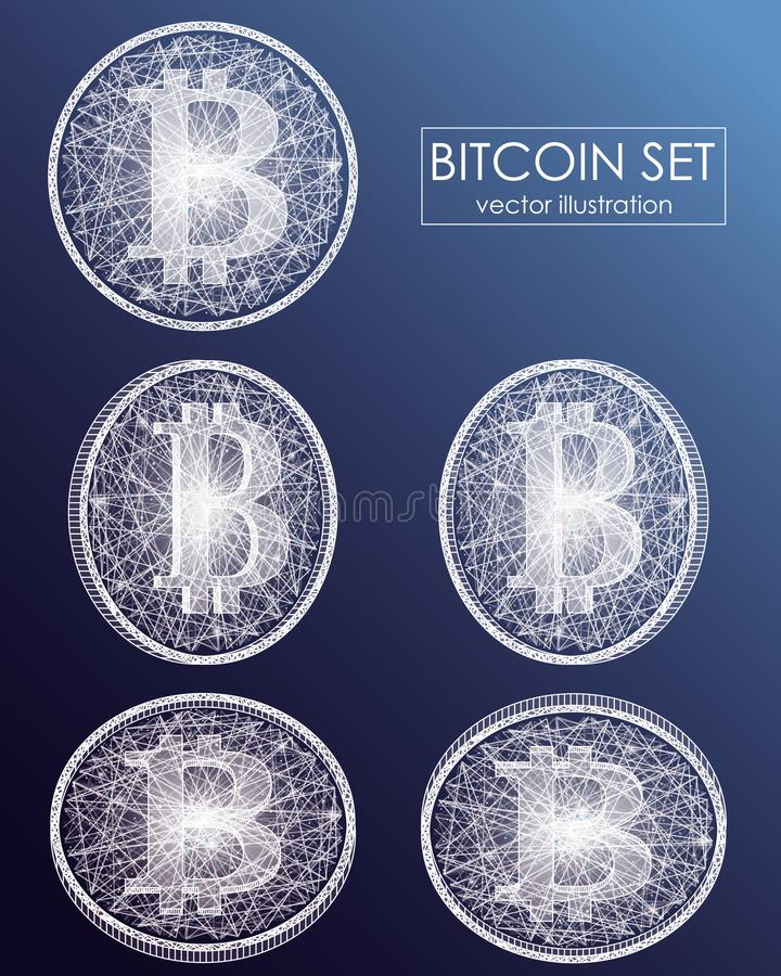Bitcoin digital currency vector icons and symbols. Crypto currency token coins with bitcoin symbol. stock illustration