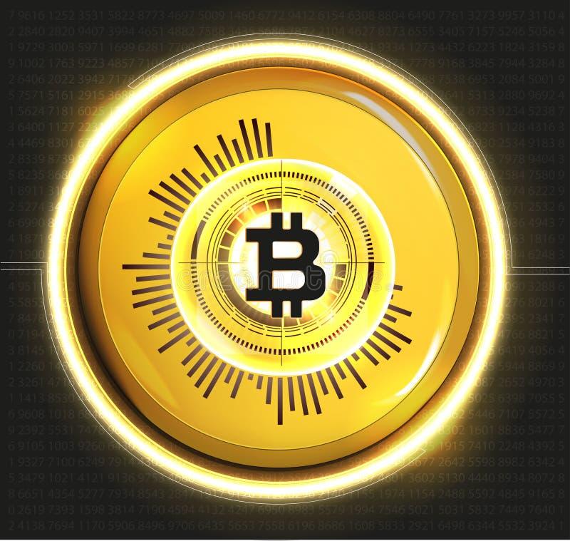 Bitcoin digital guld- valuta, futuristiska digitala pengar, världsomspännande nätverksbegrepp för teknologi, hudstil royaltyfri illustrationer