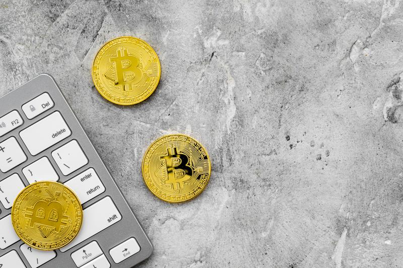 Bitcoin digital money for finance and online buy or sell gray background top view mockup stock photo