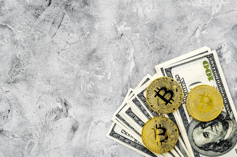 Bitcoin digital money for finance and online buy or sell gray background top view mockup royalty free stock photos
