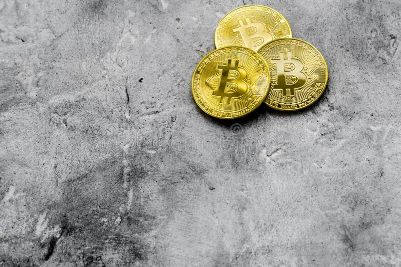 Bitcoin digital money for finance and online buy or sell gray desk background top view mockup stock photos