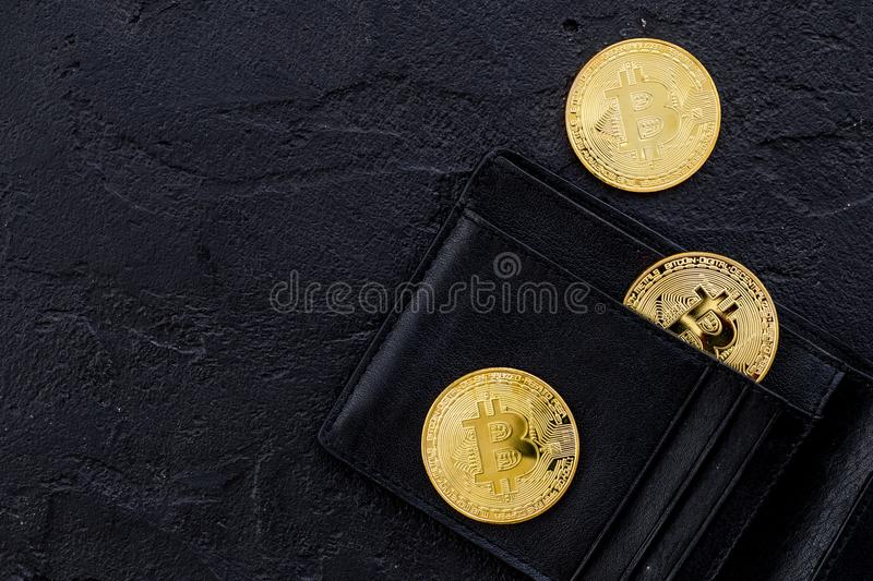 Bitcoin digital money for finance and online buy or sell and wallet black desk background top view mockup stock photos