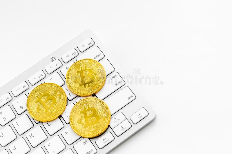 Bitcoin digital money for finance and online buy or sell white desk background mockup stock photos
