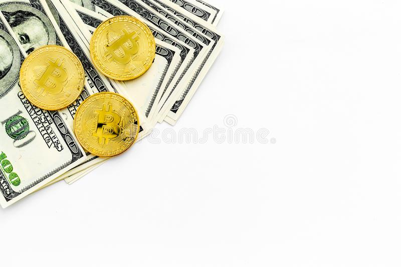 Bitcoin digital money for finance and online buy or sell white desk background top view mockup stock photo