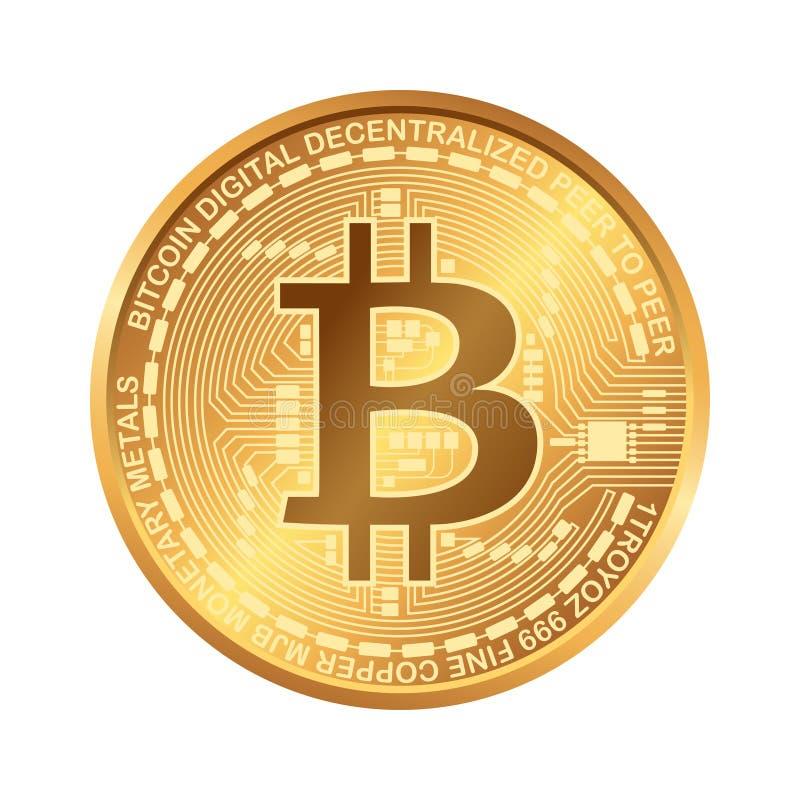 Bitcoin Digital valuta Cryptocurrency Guld- mynt med bitcoinsymbol som isoleras på vit bakgrund stock illustrationer