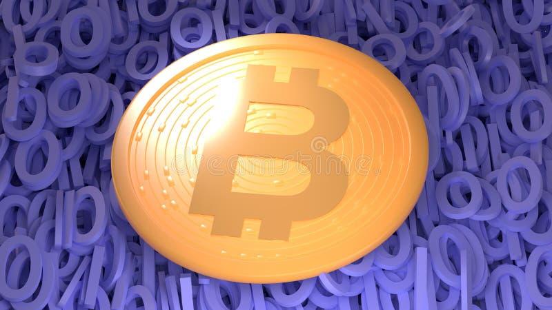 Bitcoin Digital valuta Cryptocurrency och blockchain Guld- mynt med bitcoinsymbol som isoleras på vit bakgrund royaltyfri illustrationer