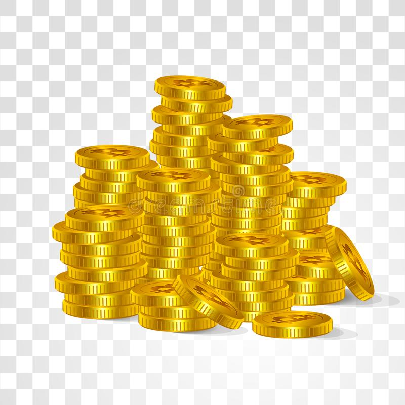 Bitcoin is a digital virtual currency Internet search. Vector golden coins symbols virtual technology cryptographic money stacked vector illustration