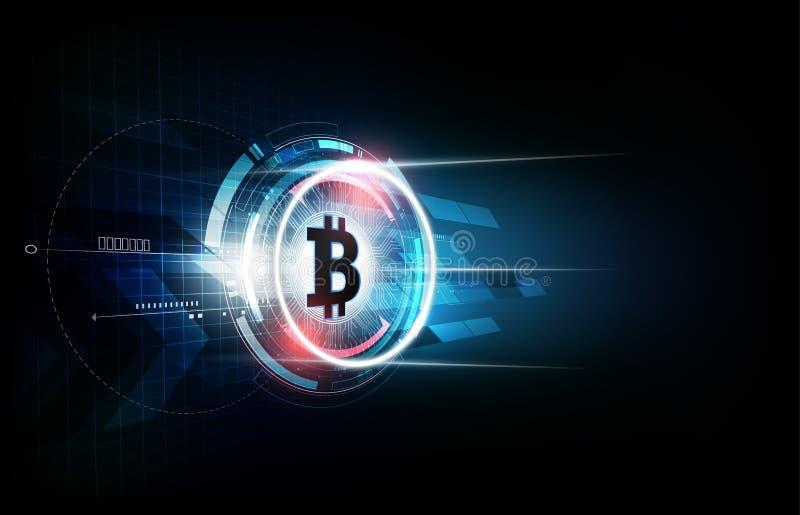 Bitcoin digitale munt, futuristisch digitaal geld, het concept van het technologiewereldwijde netwerk, vectorillustratie royalty-vrije illustratie