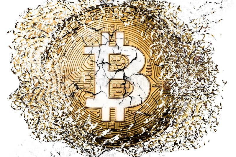 Bitcoin disintegration stock images